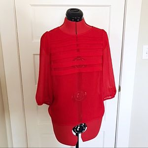 Loft Red Sheer Ruched Pleated Top w/ Sleeves